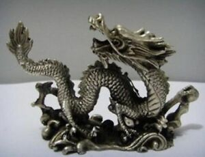 Old Chinese Handwork Copper Carved Luck Dragon Statues