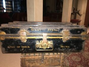 Antique Star Of India Steel Ship S Trunk Chest Painted W Brass Hardware