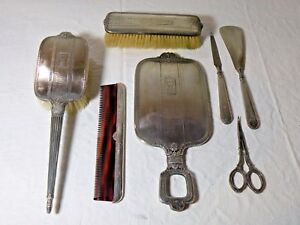 St Up Antique International Sterling Silver Deco Dresser Set Brush Mirror Comb