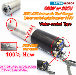 3kw Atc Automatic Tool Change Water Cooled Cnc Spindle Motor Bt30 380v 24000rpm