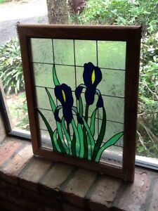 Lovely Vintage Stained Glass Window Irises Flowers Green Leaves 23 1 2 H X 19 W