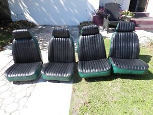 Four Re upholstered Blk grn Truck Seats 1977 International Harvester Scout Ii