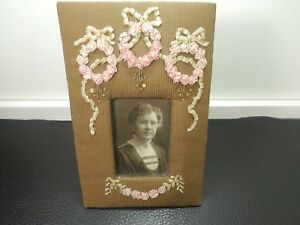 Charming Victorian Gray Green Velvet Frame W Embroidered Flowers Lady Photo