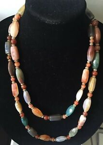 Chinese Carnelian Agate Gilt Knotted Antique Beaded Stone Necklace 55 Long