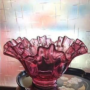 Antique Glass Gold Red Frill Compote Japan Retro Popular Rare Beautiful Ems F S
