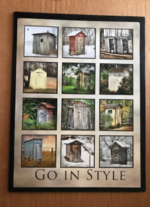 Assorted Outhouses Country Primitive Outhouse Bathroom Powder Room Wood Sign