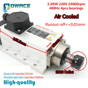 Square 2 2kw Er20 Air Cooled Spindle Motor 220v Runout off 0 01mm For Cnc Router