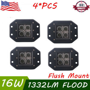 4x 4 16w Cree Led Pod Light Square Fog Lamp Cube Bumper Flood Beam Flush Mount