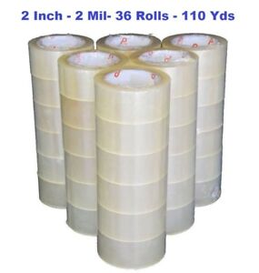 2 Inch X 110 Yards 330 Ft Clear Sealing Packing Shipping Tape 2 Mil 36 Rolls