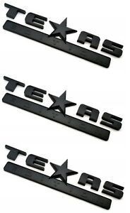 3 Gloss Blacked Out Texas Edition Emblem Decal For Chevy Silverado Sierra Truck