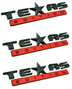 3 Red And Black Texas Edition 3d Emblem Decal For Chevy Silverado Sierra Truck