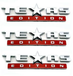 3 Red And Chrome Texas Edition Emblem Decal For Chevy Silverado Sierra Truck