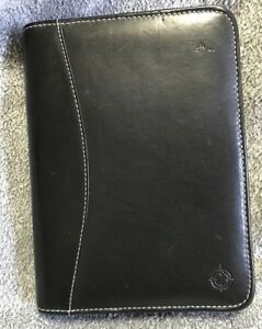 Franklin Covey Planner Compact 1 25 Rings Black Riverwood Genuine Leather Usa