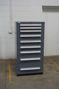 Used Lyon 9 Drawer Cabinet Industrial Tool Storage 1473 Vidmar Gray