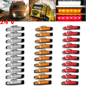 30 24v 6led Truck Side Marker Rear Light Red yellow white Bus Trailer Car Lights