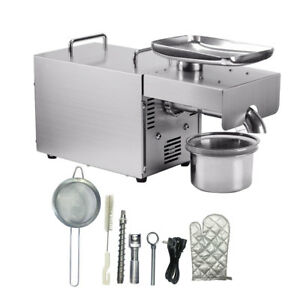 Us 110v Stainless Automatic Peanut Oil Press Extraction Machine Commercial Home