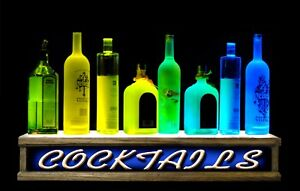 remote Control 24 lighted Liquor Bottle Display Cocktails Bar Sign Retro Look