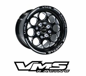15x8 Vms Racing Modulo Black Polished Rims Wheels 4x100 4x114 Et20 X2