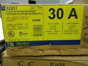 Square D 92251 30 Amp 2 Pole 240 Volt Double Throw Switch Ats307 New