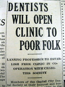 2 1915 Lansing Michigan Newspapers Dentists Open Free Dental Clinic Forthe Poor