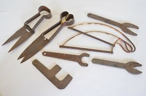 Lot Of Vintage Cast Iron Tools Shears Saws Wrenches More
