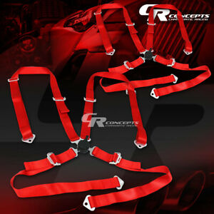 2x Universal 4 Point 2 Nylon Strap Racing Harness Camlock Seat Belt Belts Red