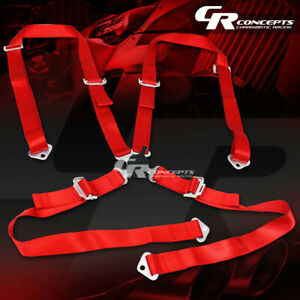 4 Point 2 Wide Red Strap Harness Safety Camlock Style Racing Seat Belt Bolts