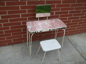 Vintage Art Deco Child S Vanity Table Stool Hairpin Legs Formica Mid Century