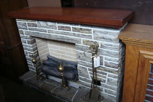 57360 Wood Top Fireplace Mantle W Faux Logs Brass Screen And Tools