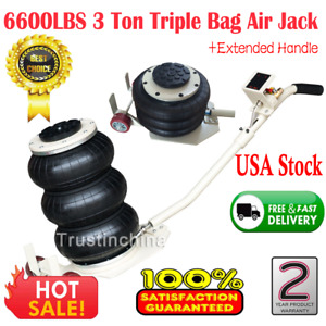 6600lbs Triple Bag Air Jack Pneumatic Jack Lifting Jack Stands Adjustable 3 Ton