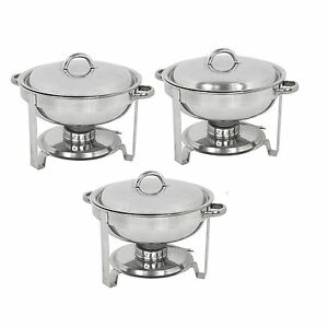 3 pack Round Chafing Dish Buffet Chafer Warmer Set W lid 5 Quart stainless Steel