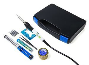 Portable Electric Soldering Iron Set Tool Kit Adjustable Temp 60w 6 Tips Case Us