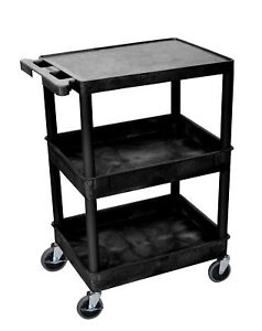 Offex Of stc211 b Flat Top And Tub Middle bottom Shelf Cart