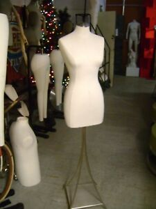 Dress Form Female Torso W Stainless Steel Finish Metal Base