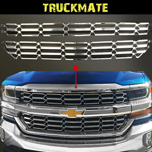 Fit 16 19 Chevy Silverado 1500 Chrome Grille Skin Mesh Insert Fit Wt ls lt