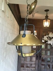 Vintage Mid Century Electric Light Fixture Antique Brass And Wrought Iron Detail