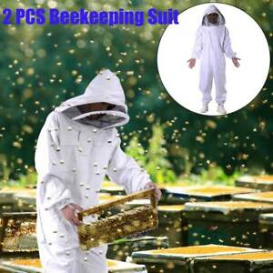 2x Pro Beekeeping Protective Equipment Veil Bee Keeping Full Body Suit Hat Smock