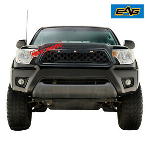 Eag Replacement Upper Front Hood Led Grille Black Grill For 12 15 Toyota Tacoma