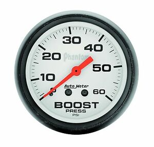 Auto Meter Phantom Mechanical Boost Gauge 2 1 16 Turbo Blower Pressure 60 Psi