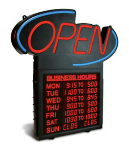New Open Sign With Business Hours 20 Led