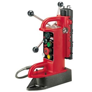 Electro Magnetic Fixed Position Drill Press Base Tool Variable Speed 9 Inch Red