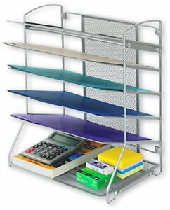 Desktop Document Letter Tray Organizer Office Storage Standing Steel Mesh 6 Tray