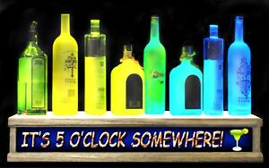 24 Lighted Liquor Bottle Display Shelf It s 5 oclock Somewhere Led Bar Sign