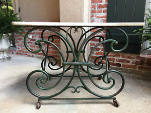 Antique French Pastry Baker S Table Scrolled Iron Marble Top Art Nouveau Green