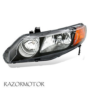 2006 2011 Left Replacement Headlight For Honda Civic 4 Dr Sedan Black Housing