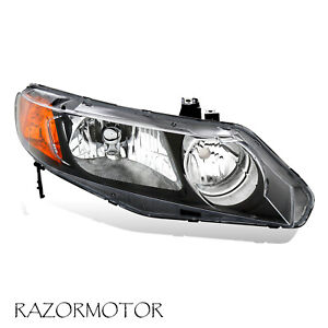 2006 2011 Right Replacement Headlight For Honda Civic 4 Dr Sedan Black Housing