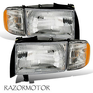 94 01 Replacement Headlight W Bulb And Corner Signal For Dodge Ram Truck Pair