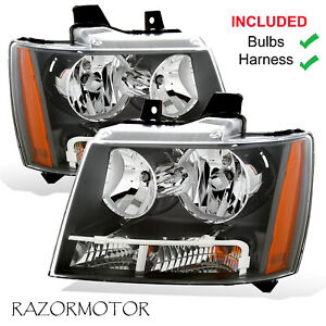 2007 2014 Replacement Headlight Pair For Chevy Suburban tahoe avalanche W Bulb