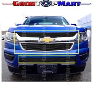 For Chevy Colorado 2015 16 17 2018 Black Billet Grille Inserts Upper And Bumper