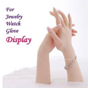 Female Silicone Hand Model Mannequin Posable Skeleton Jewelry Glove Display